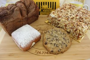 Kretchmar's Signature Products - Toasted Almond Torte, Cinnamon Bread, Bavarian Creme Donut, Gourmet Chocolate Chunk Cookie