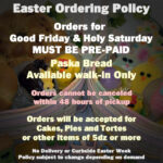 Easter Ordering Policy 2021